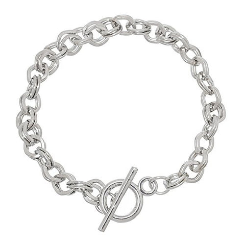 "Iron Alloy Double Cable Chain Toggle Clasp Bracelets Silver Tone 20cm(7 7/8"") - Sexy Sparkles Fashion Jewelry - 1"