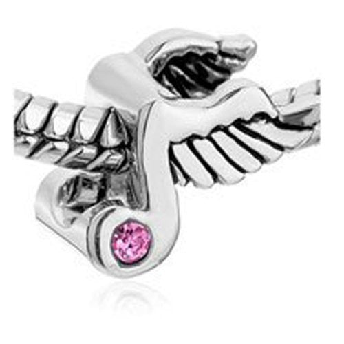 Angel Wings Music Note W/pink  Crystal Charm European Bead Compatible for Most European Snake Chain Bracelet