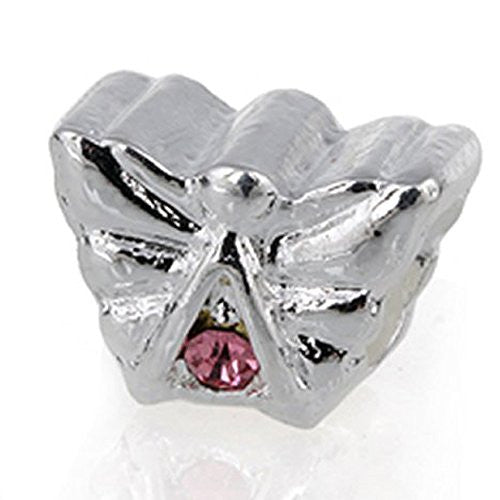 Angle with Pink  Crystals European Bead Compatible for Most European Snake Chain Charm Bracelet