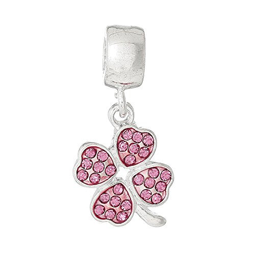 Four Leaf Clover With Pink Crystals for European Snake chain charm Bracelet