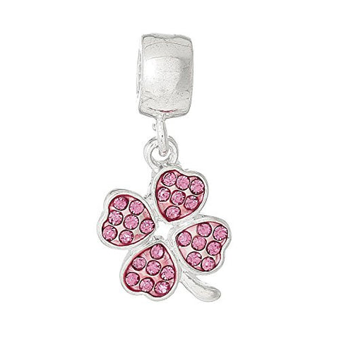 Four Leaf Clover With Pink Crystals for European Snake chain charm Bracelet - Sexy Sparkles Fashion Jewelry - 1