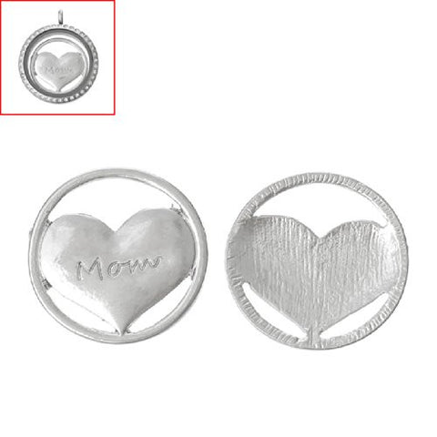 Mom Heart Floating Charms Dish Plate for Glass Locket Pendants and Floating - Sexy Sparkles Fashion Jewelry - 2