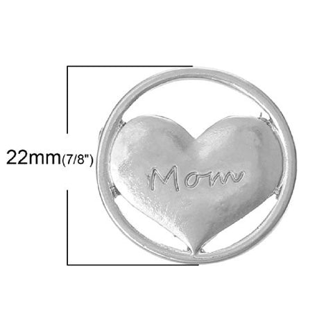 Mom Heart Floating Charms Dish Plate for Glass Locket Pendants and Floating - Sexy Sparkles Fashion Jewelry - 1
