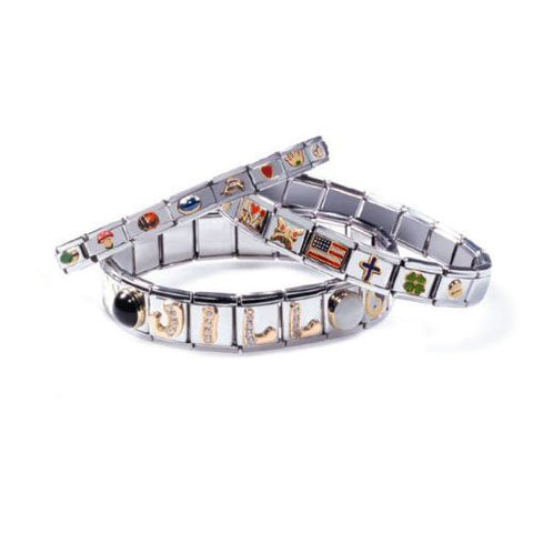Dolphin with Created Crystals Italian Link Bracelet Charm - Sexy Sparkles Fashion Jewelry - 2
