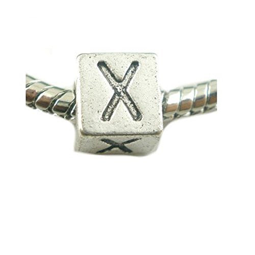 One Alphabet Block Beads Letter X for European Snake Chain Charm Braclets