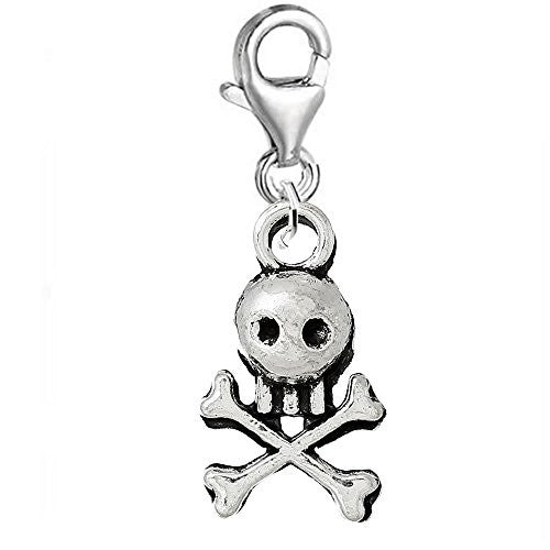 Pirate Skull Clip On For Bracelet Charm Pendant for European Charm Jewelry w/ Lobster Clasp