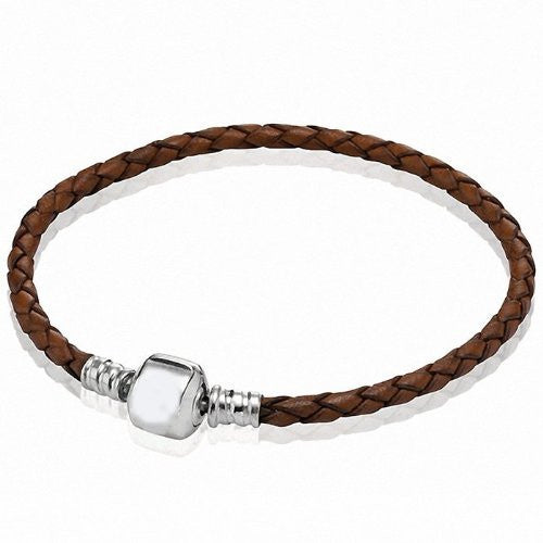 "8.5"" Brown High Quality Real Leather Bracelet For European Snake Chain Charms"