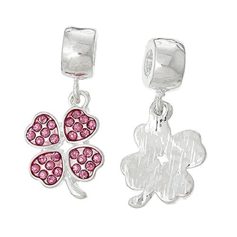 Four Leaf Clover With Pink Crystals for European Snake chain charm Bracelet - Sexy Sparkles Fashion Jewelry - 2