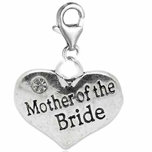 Clip on Wedding Mother of the Groom Heart w/ Crystals Charm Dangle Pendant for European Clip on Charm Jewelry w/ Lobster Clasp
