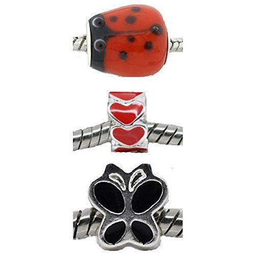 Set of Three (3) Charms Love Bug Charm Beads for European Snake Chain Charm Bracelets