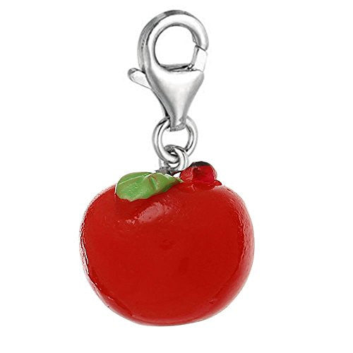 Resin Red Apple Clip on Charm Pendant for European Jewelry w/ Lobster Clasp