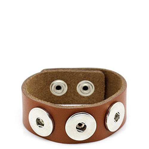 Real Leather Copper Buckle Bracelets Brown Chunk Buttons Fit Interchangeable Snap Fasteners 24cmx2.4cm
