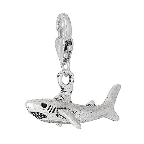 Shark Clip on for Bracelet Charm Pendant for European Charm Jewelry w/ Lobster Clasp