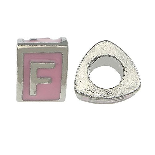"""F"" LetterTriangle Charm Beads Pink Spacer for Snake Chain Charm Bracelet"