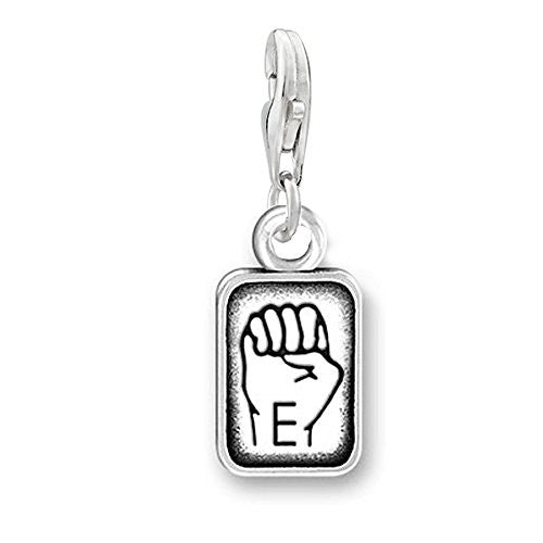 "Sign Language Charm Pendant for Bracelets or Necklaces ""E"""