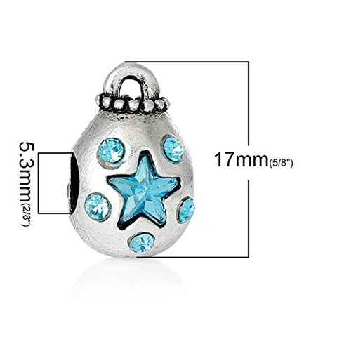 Money Bag With Blue Crystals Charm Bead Spacer for European Snake Chain Charm Bracelets - Sexy Sparkles Fashion Jewelry - 3