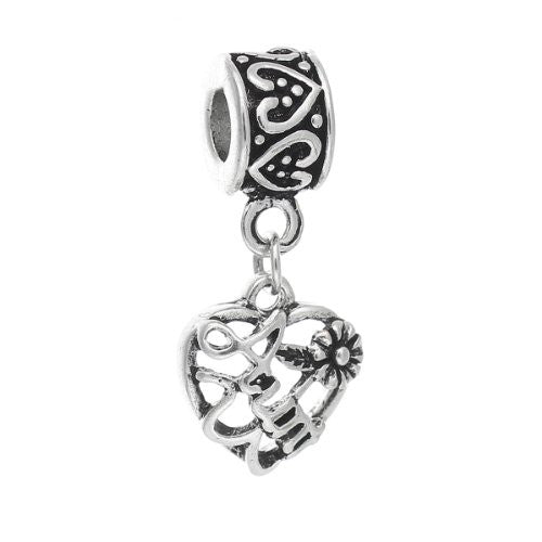 Aunt Love Heart Charm Bead