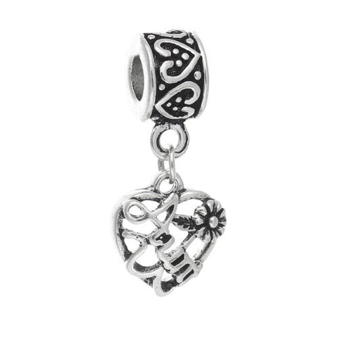 Aunt Love Heart Charm Bead - Sexy Sparkles Fashion Jewelry - 1