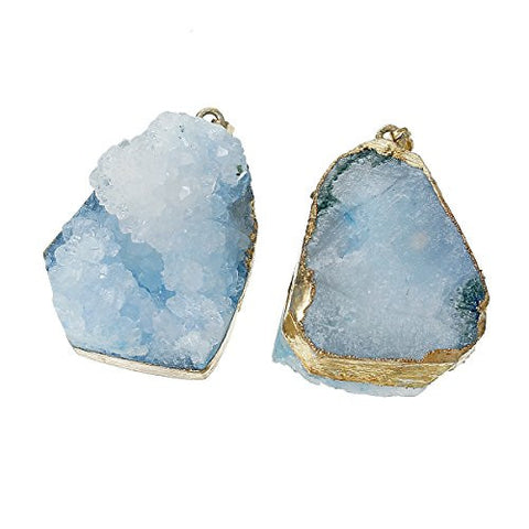 (Grade A) Natural Agate Druzy /Drusy Charm Pendant (Light Blue) - Sexy Sparkles Fashion Jewelry - 2