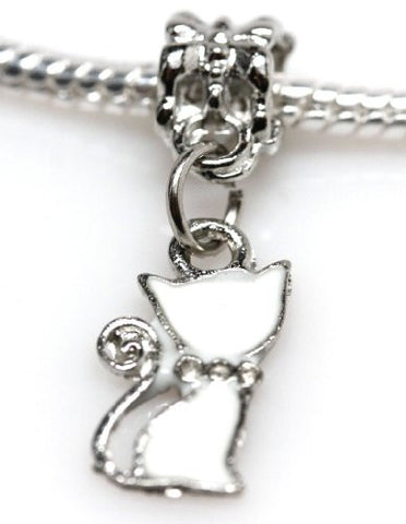 White Cat Dangle European Bead Compatible for Most European Snake Chain Charm Bracelet - Sexy Sparkles Fashion Jewelry - 2
