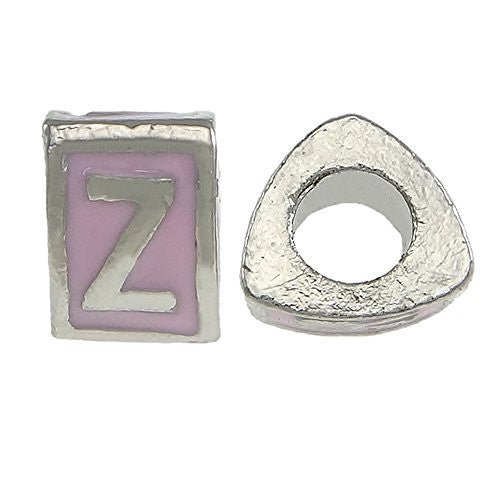 """Z"" Letter TriangleCharm Beads Pink Spacer for Snake Chain Charm Bracelet"