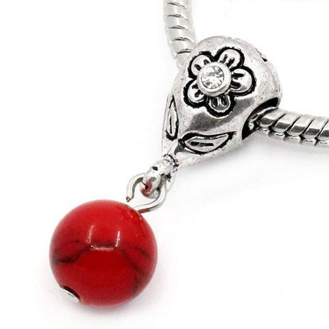 Red Dangle Ball with Rhinestones Bead Charm Spacer for Snake Chain Charm Bracelets - Sexy Sparkles Fashion Jewelry - 4