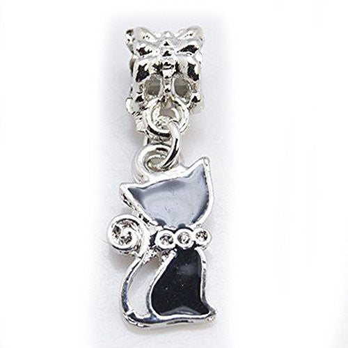 Black Cat Dangle Bead European Bead Compatible for Most European Snake Chain Bracelets