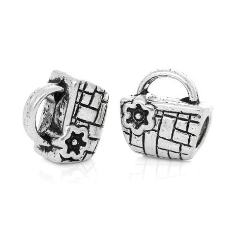 Picnic Basket Charm Compatible with Snake Chain Charm Bracelet - Sexy Sparkles Fashion Jewelry - 3