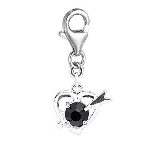 Clip on Black Rhinestone Cupid Heart Charm Pendant for European Jewelry w/ Lobster Clasp
