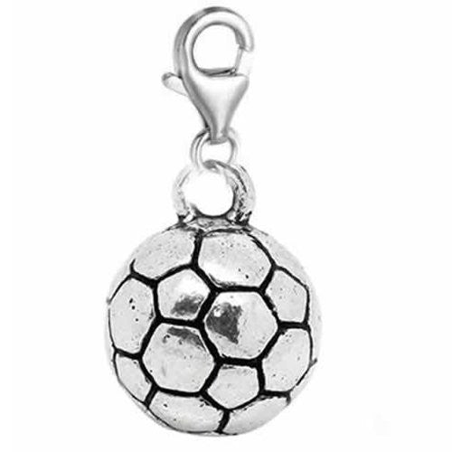 Clip on Football Charm Dangle Pendant for European Clip on Charm Jewelry with Lobster Clasp - Sexy Sparkles Fashion Jewelry
