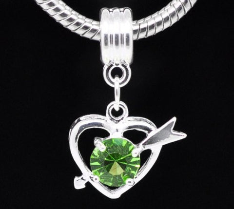 Green Rhinestone Qupid Heart Dangle Charm European Bead Compatible for Most European Snake Chain Bracelet - Sexy Sparkles Fashion Jewelry - 2