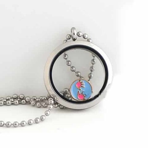 Round Locket Crystal Necklace Base and Floating Family Charms (Baby Hand Print) - Sexy Sparkles Fashion Jewelry - 2