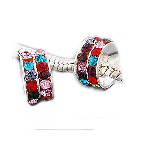 One Multi Crystals European Bead Compatible for Most European Snake Chain Bracelets