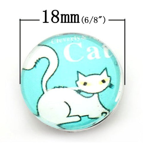 Siamese Cat Design Glass Chunk Charm Button Fits Chunk Bracelet - Sexy Sparkles Fashion Jewelry - 2