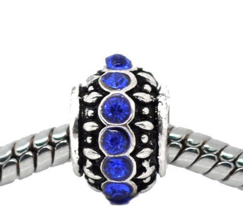 Royal Blue Created Birthstone Charm Beads for Snake Chain Bracelets - Sexy Sparkles Fashion Jewelry - 4