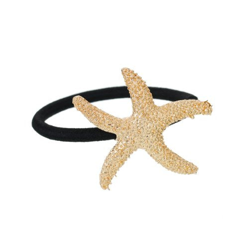 Nylon Cirlce Ring Hair Band Ponytail Holder Black Acrylic Imitation Pearl Choose Your Style From Menu (Starfish A) - Sexy Sparkles Fashion Jewelry - 1