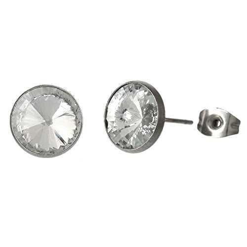 April Birthstone Stainless Steel Post Stud Earrings with  Rhinestone