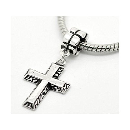 Antique Silver Tone Cross Charm Spacer Bead Fits Pandora Troll Chamilia Biagi Bracelet - Sexy Sparkles Fashion Jewelry - 1