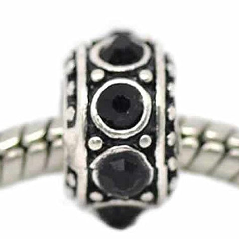 Black Crystals Spacer Bead Charm for Snake Chain Bracelet - Sexy Sparkles Fashion Jewelry - 1