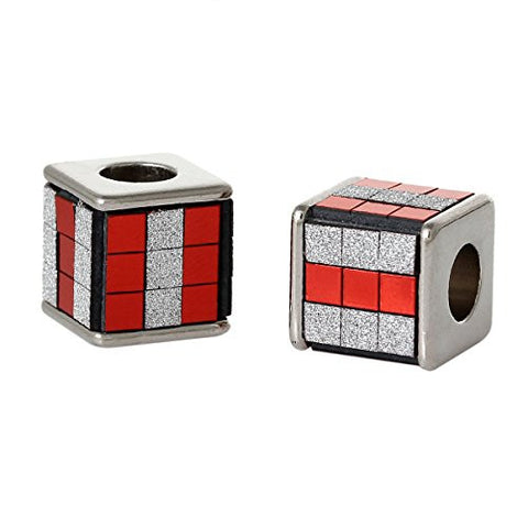 Red/White Cube Grid Pattern Charm Spacer Bead - Sexy Sparkles Fashion Jewelry - 2