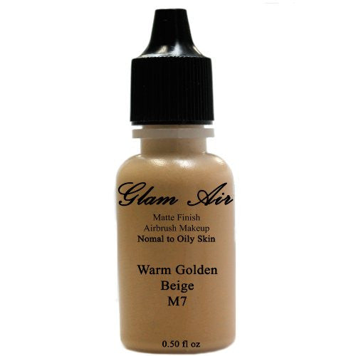 Large Bottle Airbrush Makeup Foundation Matte Finish M7 Warm Golden Beige Water-based Makeup Lasting All Day 0.50 Oz Bottle By Glam Air - Sexy Sparkles Fashion Jewelry - 1