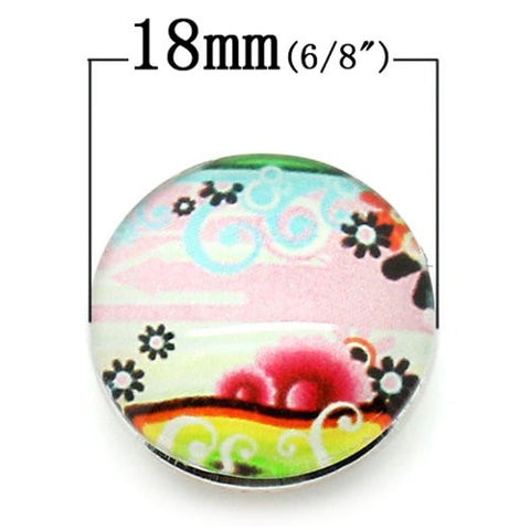 Flower Pattern Glass Chunk Charm Button Fits Chunk Bracelet 18mm for Noosa Style Bracelet - Sexy Sparkles Fashion Jewelry - 2