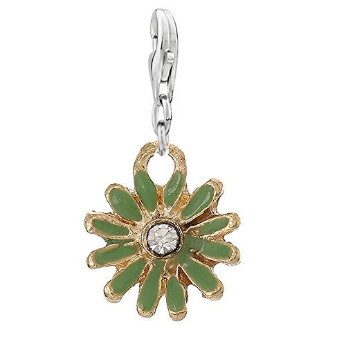 Clip on Green Daisy Flower Silver Tone Charm Pendant for European Jewelry w/ Lobster Clasp