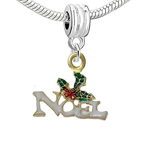Christmas Noel Dangle Charm Bead for European Snake Chain Charm Bracelet