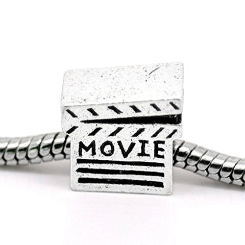 Movie Clapper Board Bead Charms for Snake Chain Charm Bracelet - Sexy Sparkles Fashion Jewelry - 1
