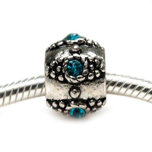 European Charm w/ Turquoise  Rhinestones Charm European Bead Compatible for Most European Snake Chain Bracelet