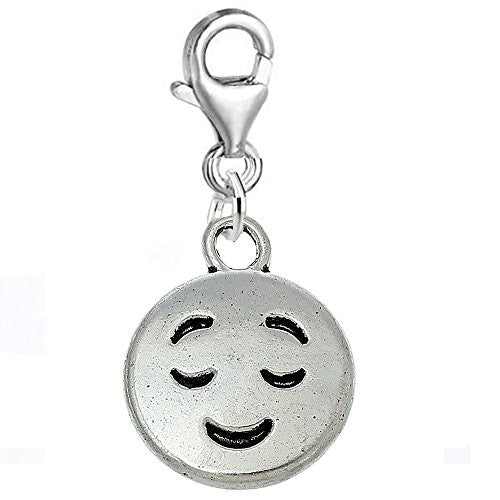 Facial Expression Clip on Pendant for European Charm Jewelry w/ Lobster Clasp (Closed Eyes)
