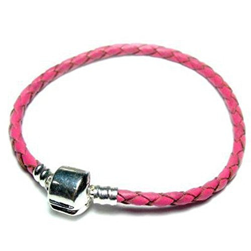 "Genuine Real Braided Leather Bracelet (Pink 7.5"")Fits Beads For European Snake Chain Charms"