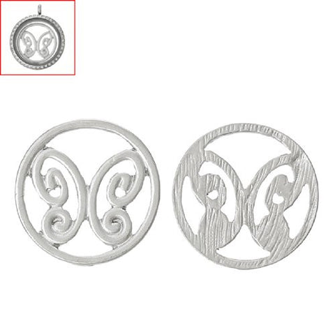 Butterfly Silver tone Floating Charms Dish Plate for Glass Locket Pendants and Floating - Sexy Sparkles Fashion Jewelry - 2