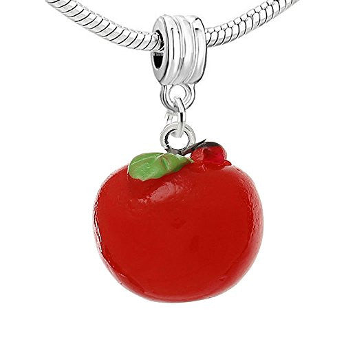 Resin Red Apple Dangle Charm Pendant For European Snake Chain Bracelet